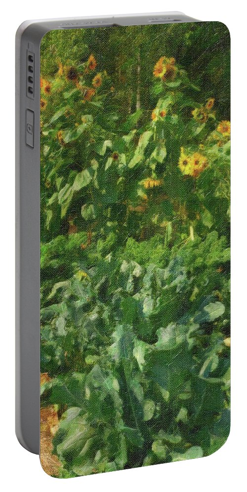 Sunflowers Portable Battery Charger featuring the photograph sunflower No.5 by Susan Crowell