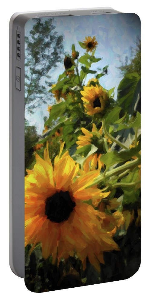 Sunflower Portable Battery Charger featuring the photograph sunflower No.8 by Susan Crowell