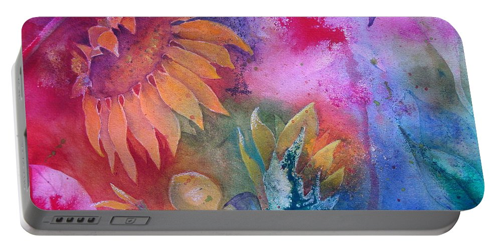Sunflower Portable Battery Charger featuring the painting Sunflower Splash by Renee Chastant