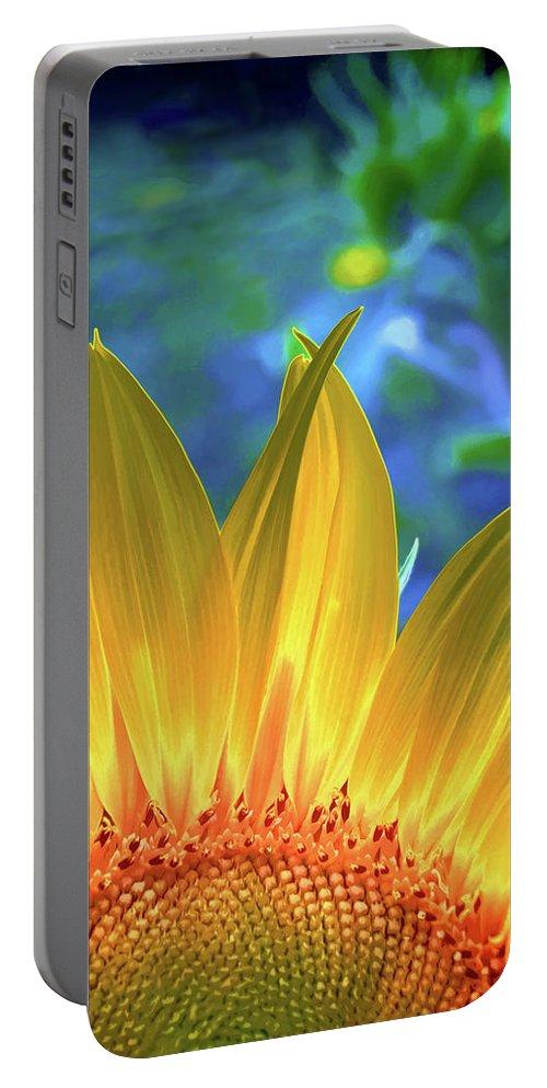 Flower Portable Battery Charger featuring the digital art Sunflower Sunshine by Pennie McCracken