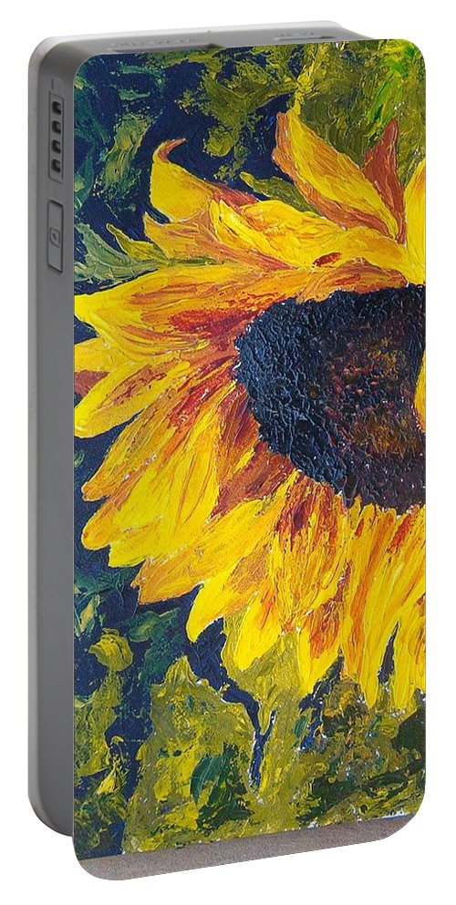 Portable Battery Charger featuring the painting Sunflower by Tami Booher