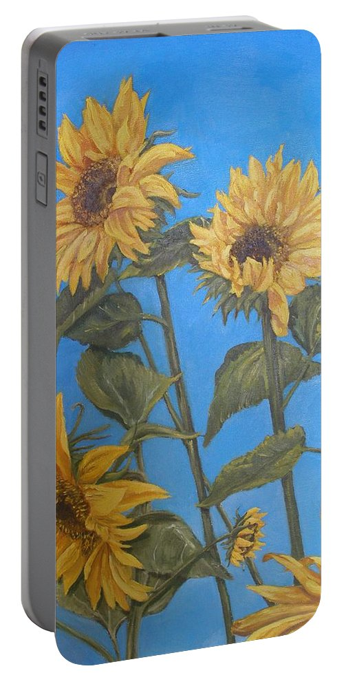 Sunflower Portable Battery Charger featuring the painting Sunflower by Travis Day