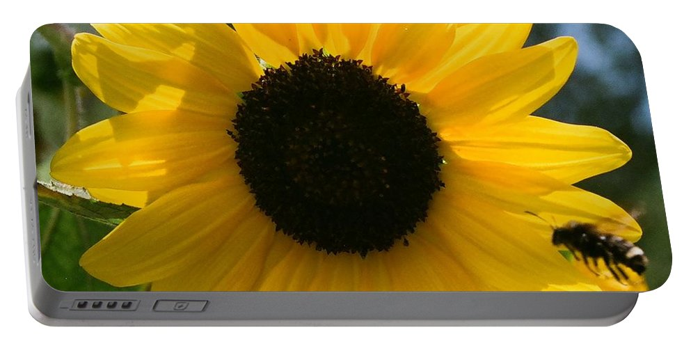 Flower Portable Battery Charger featuring the photograph Sunflower With Bee by Dean Triolo