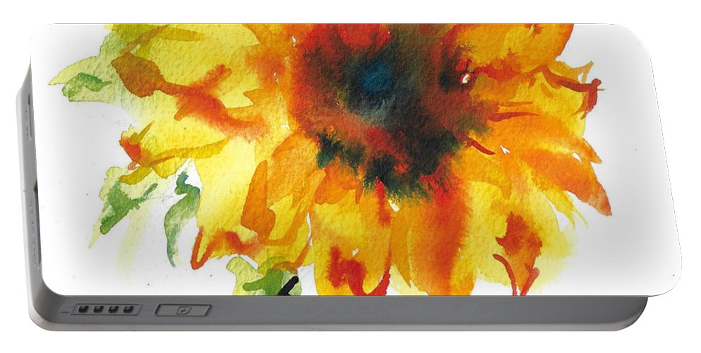 Floral Portable Battery Charger featuring the painting Sunflower With Blues by Jacki Kellum