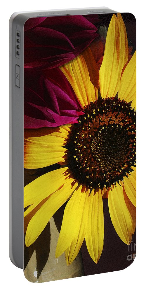 Flower Portable Battery Charger featuring the photograph Sunflower With Dahlia by Ed A Gage