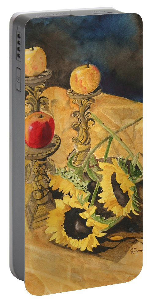 Still Life Portable Battery Charger featuring the painting Sunflowers And Apples by Jean Blackmer