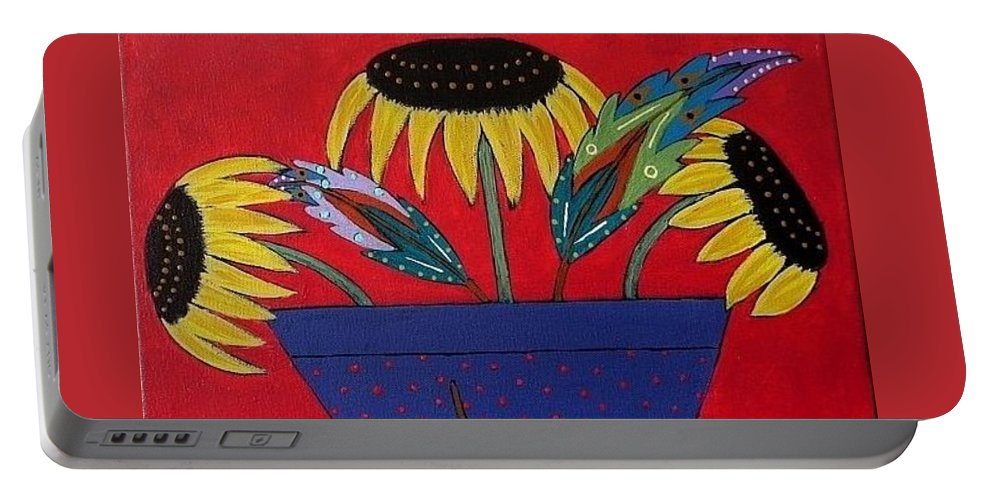 Sunflower Portable Battery Charger featuring the painting Sunflowers And Feathers by Linda Stewart