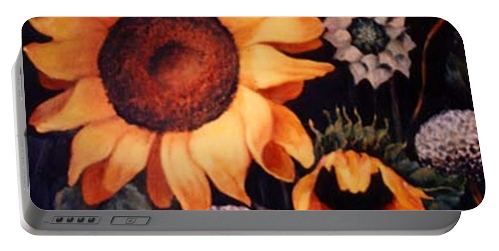 Sunflowers Paintings Portable Battery Charger featuring the painting Sunflowers And More Sunflowers by Jordana Sands