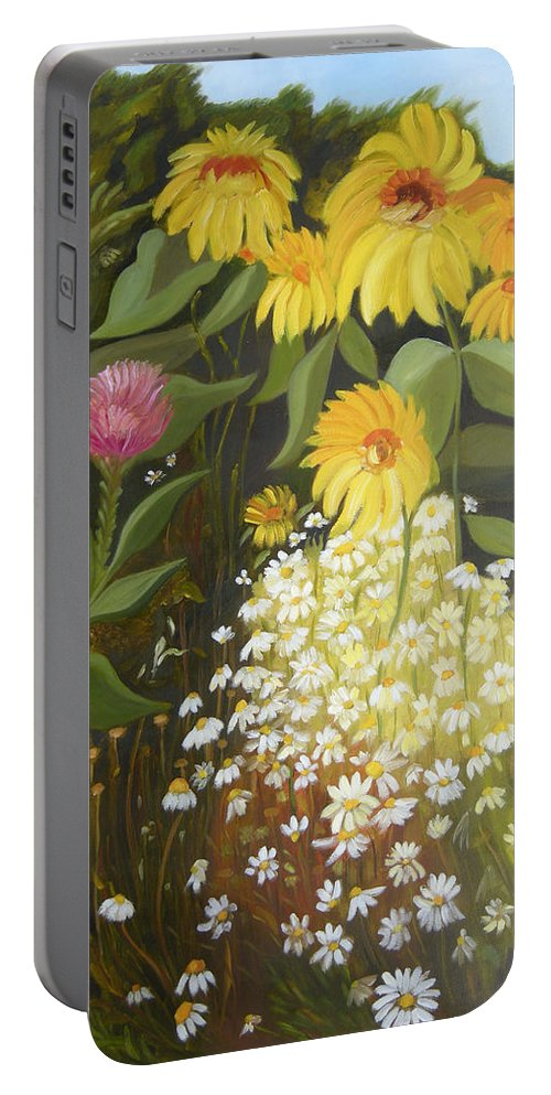 Landskape Portable Battery Charger featuring the painting Sunflowers by Antoaneta Melnikova- Hillman