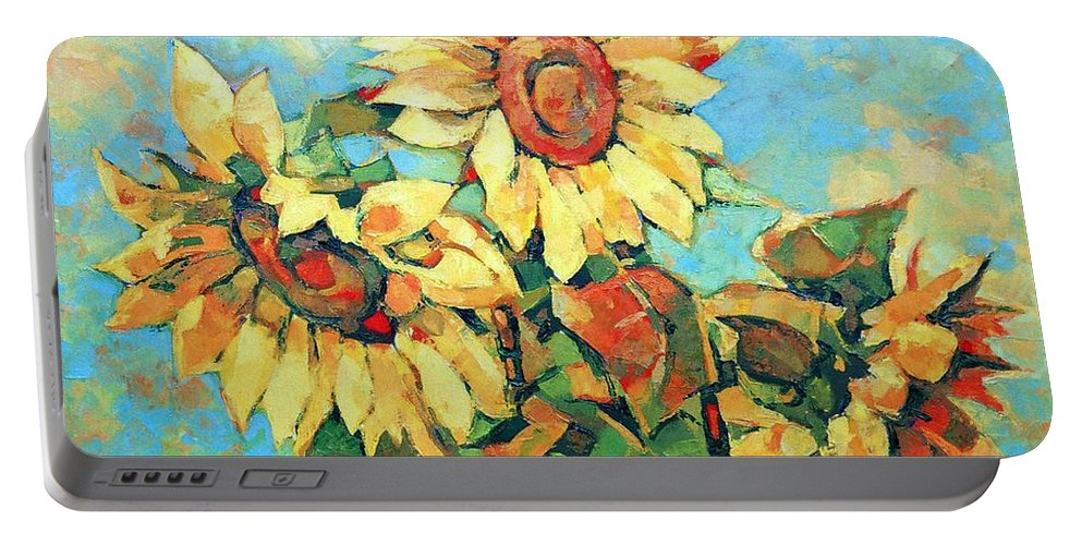 Sunflowers Portable Battery Charger featuring the painting Sunflowers by Iliyan Bozhanov