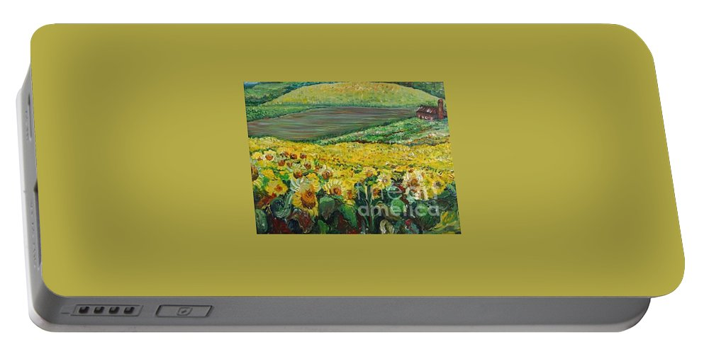 A Field Of Yellow Sunflowers Portable Battery Charger featuring the painting Sunflowers In Provence by Nadine Rippelmeyer