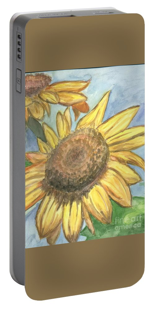 Daisy Portable Battery Charger featuring the painting Sunflowers by Jacqueline Athmann