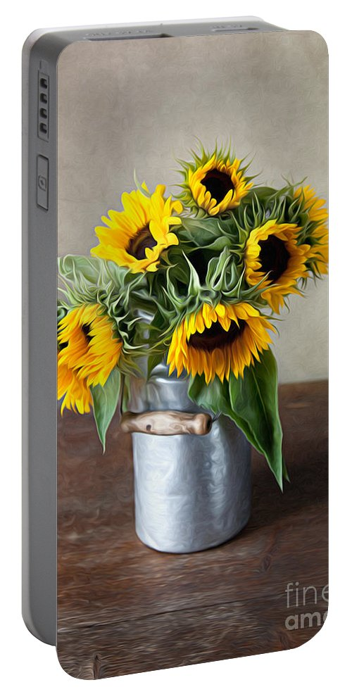 Sunflower Portable Battery Charger featuring the photograph Sunflowers by Nailia Schwarz