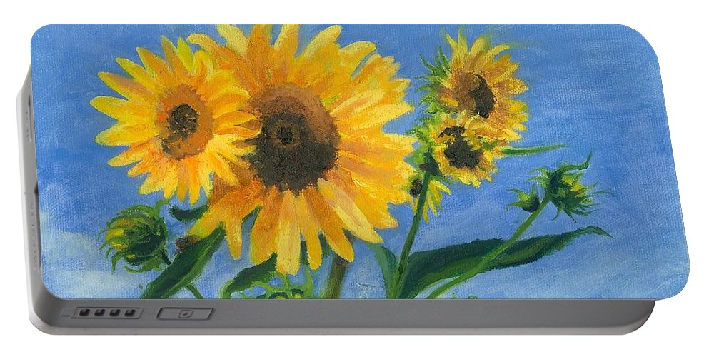 Flowers Portable Battery Charger featuring the painting Sunflowers On Bauer Farm by Paula Emery