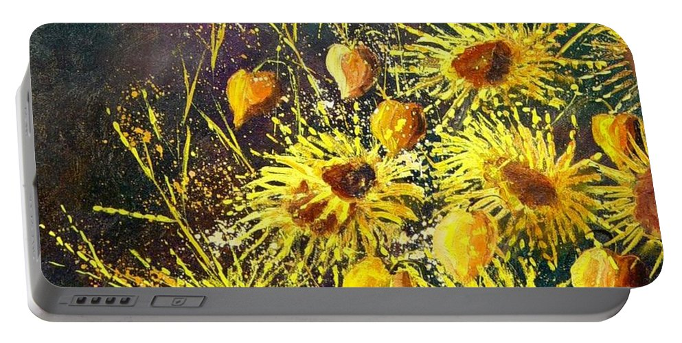 Flowers Portable Battery Charger featuring the painting Sunflowers by Pol Ledent