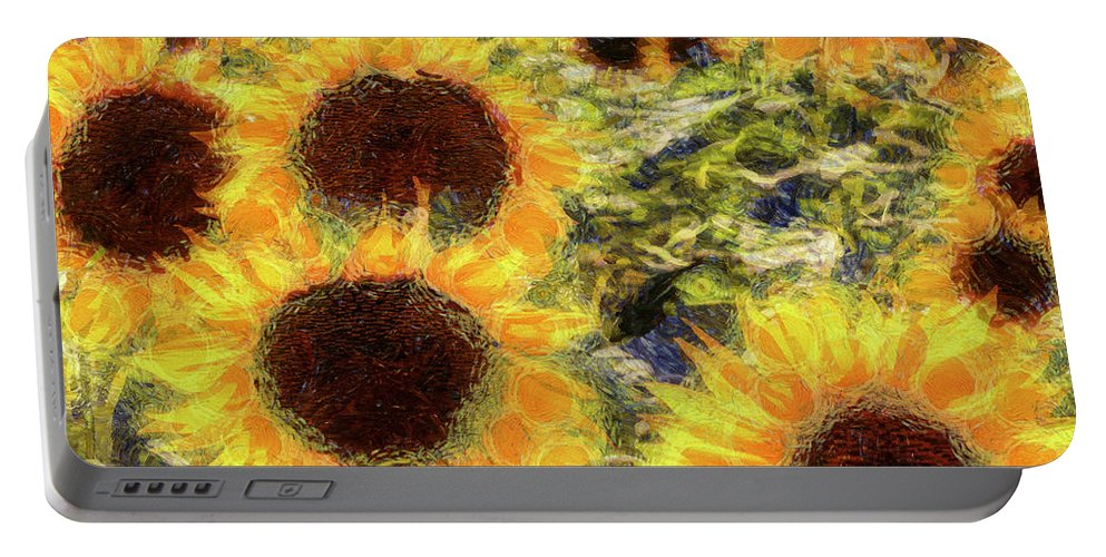 Abstract Sunflower Portable Battery Charger featuring the mixed media Sunflowers Summer Van Gogh by David Pyatt