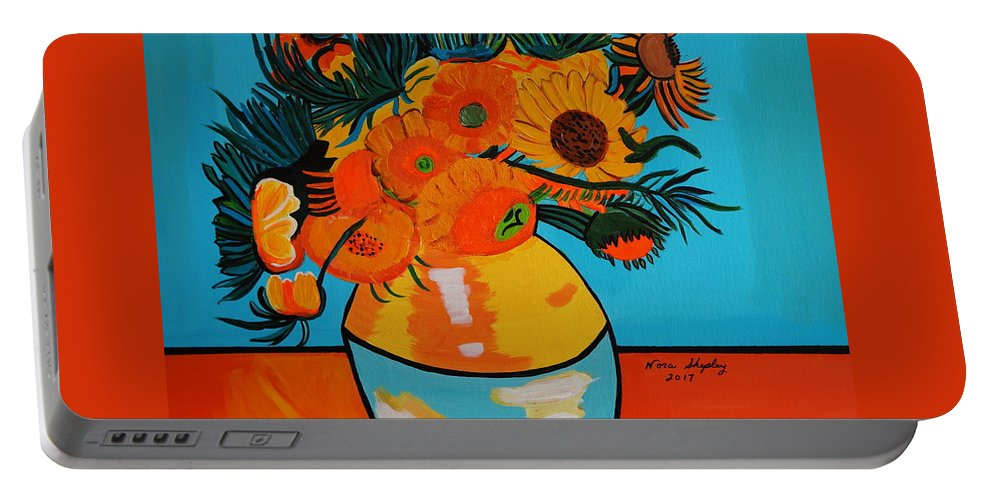 Van Gogh Portable Battery Charger featuring the painting Sunflowers Van Gogh by Nora Shepley