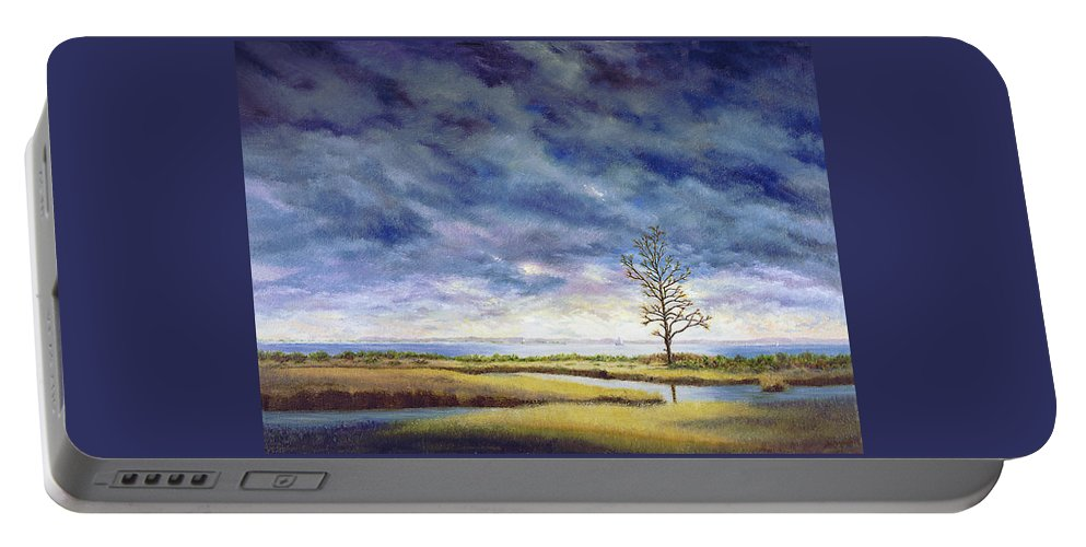 Portable Battery Charger featuring the painting Sunlight On The Marshes 18x24 by Tony Scarmato