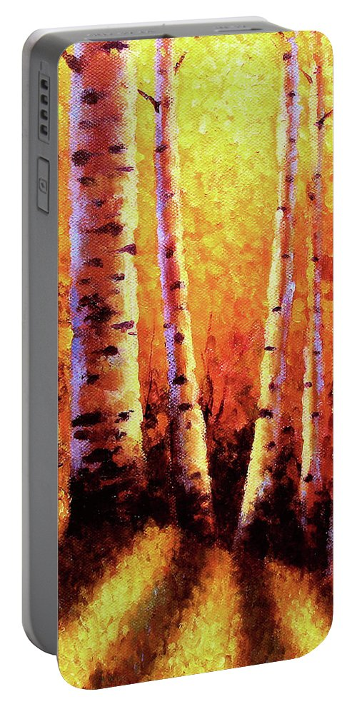 Sunlight Portable Battery Charger featuring the painting Sunlight Through The Aspens by David G Paul