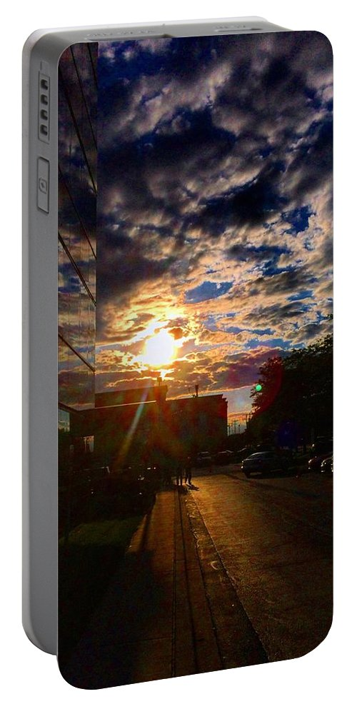 Clouds Portable Battery Charger featuring the photograph Sunlit Cloud Reflection by Nick Heap