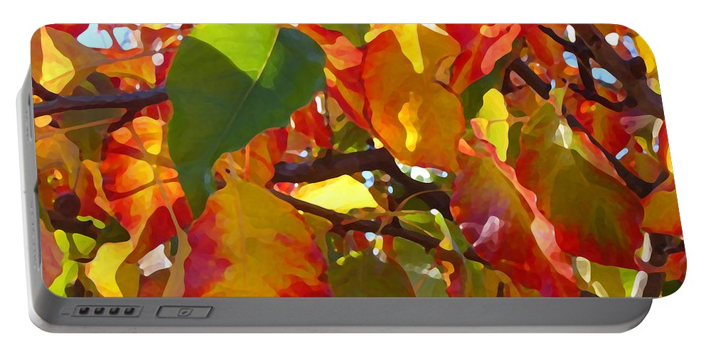 Fall Leaves Portable Battery Charger featuring the photograph Sunlit Fall Leaves by Amy Vangsgard