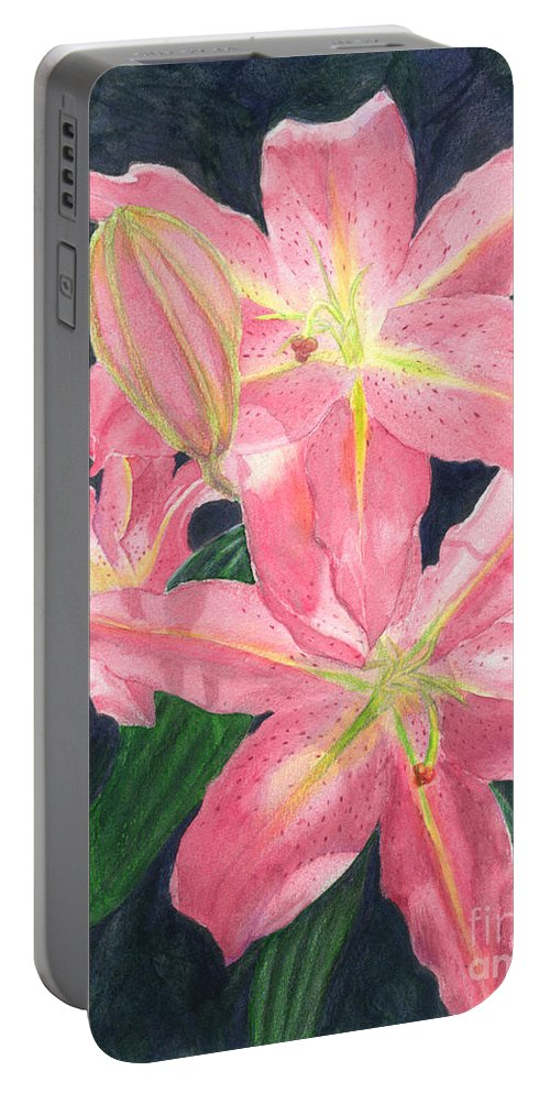 Floral Portable Battery Charger featuring the painting Sunlit Lilies by Lynn Quinn