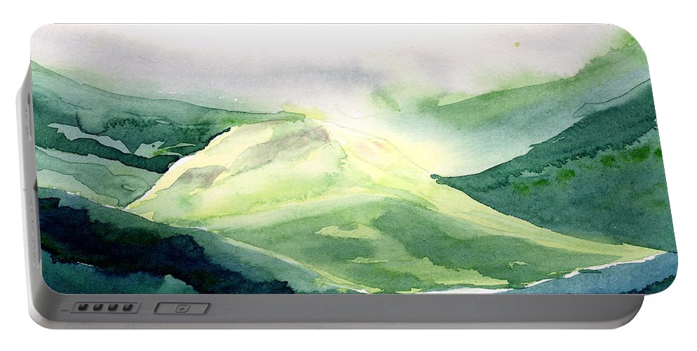 Landscape Portable Battery Charger featuring the painting Sunlit Mountain by Anil Nene