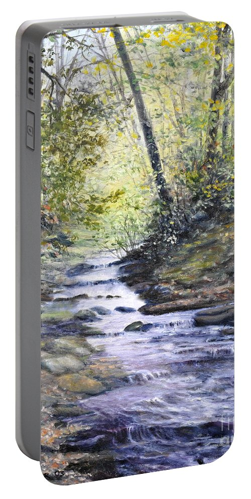 Nature Portable Battery Charger featuring the painting Sunlit Stream by Penny Neimiller