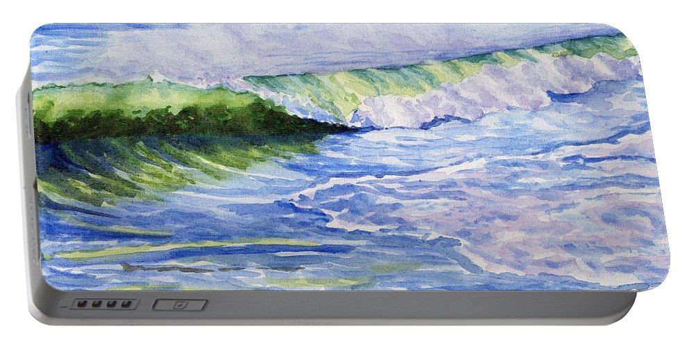 Seascape Portable Battery Charger featuring the painting Sunlit Surf by Sharon E Allen