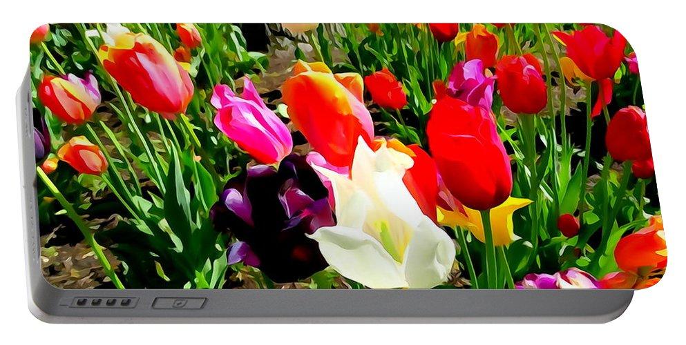 Digital Art Portable Battery Charger featuring the digital art Sunlit Tulips by Ed Weidman