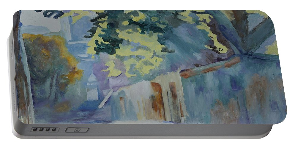 Back Road Portable Battery Charger featuring the painting Sunlit Wall Under A Tree by Kathy Przepadlo