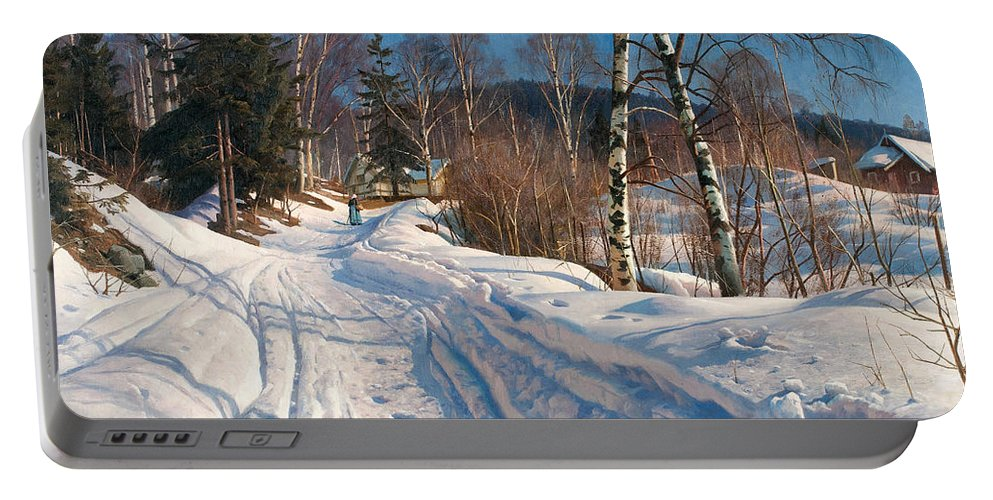 Peder Mork Monsted Portable Battery Charger featuring the painting Sunlit Winter Landscape by Peder Mork Monsted
