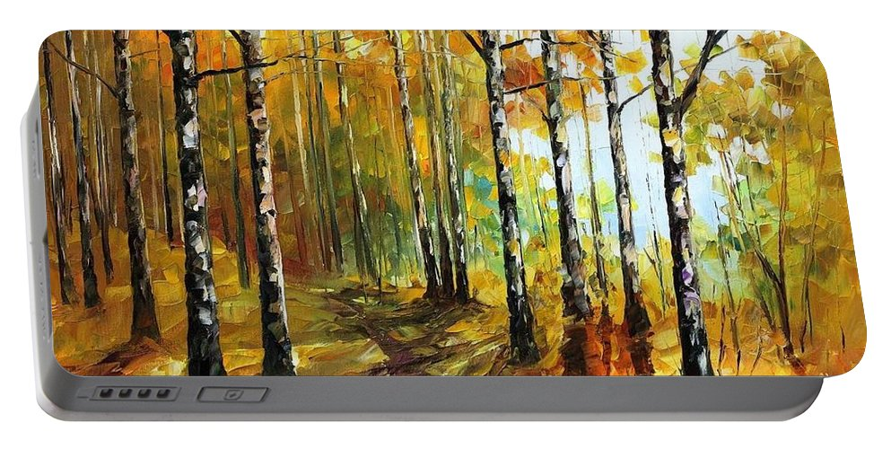 Afremov Portable Battery Charger featuring the painting Sunny Birches by Leonid Afremov