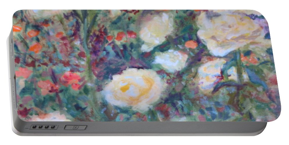 Quin Sweetman Portable Battery Charger featuring the painting Sunny Day At The Rose Garden by Quin Sweetman