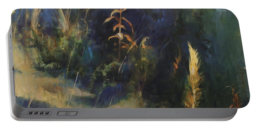 Lin Petershagen Portable Battery Charger featuring the painting Sunny Day by Lin Petershagen