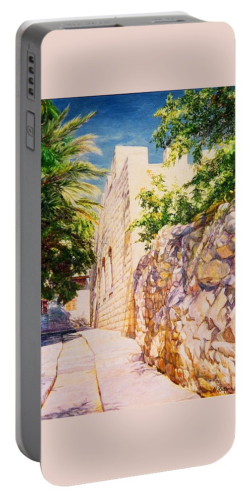 City Landscape Portable Battery Charger featuring the painting Sunny Day. by Maya Bukhina