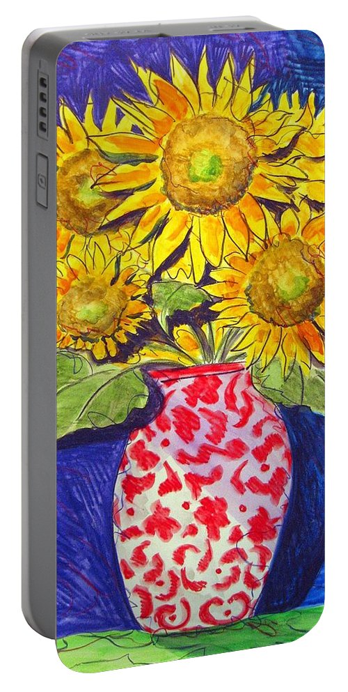 Sunflower Portable Battery Charger featuring the painting Sunny Disposition by Jean Blackmer