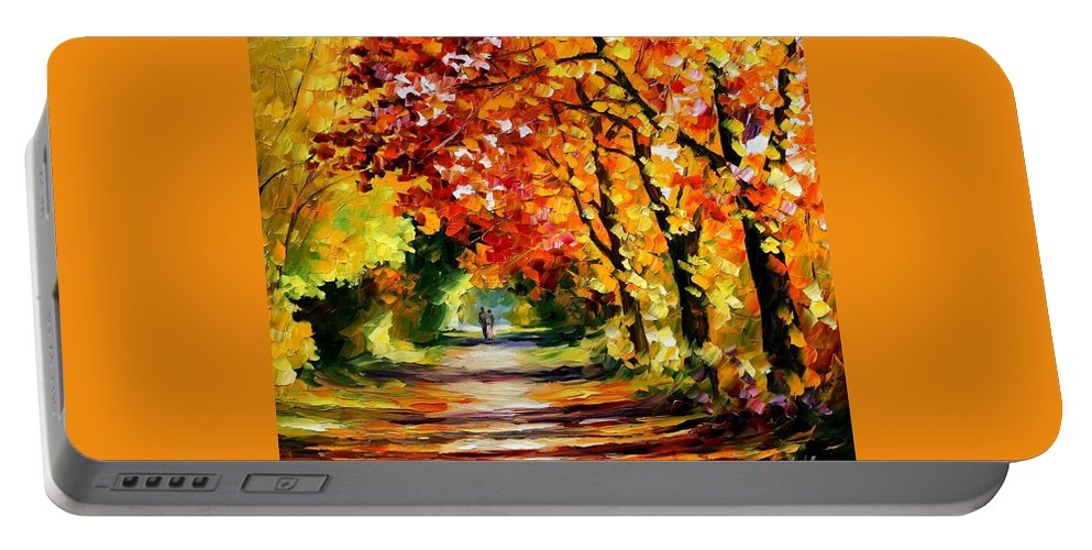 Afremov Portable Battery Charger featuring the painting Sunny Path by Leonid Afremov