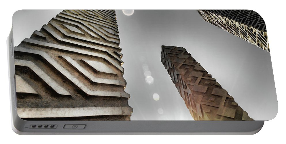Architecture Portable Battery Charger featuring the photograph Sunny Spires by Jim Love