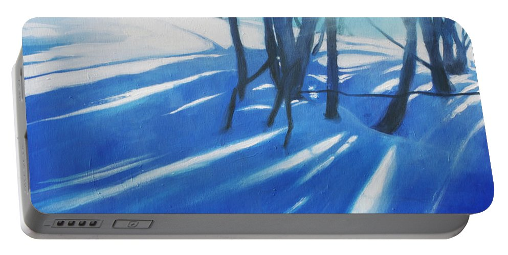 Lin Petershagen Portable Battery Charger featuring the painting Sunny Traintrip To Hamar by Lin Petershagen