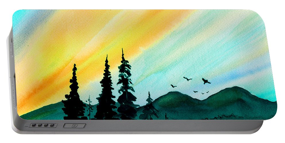 Landscape Portable Battery Charger featuring the painting Sunrays by Brenda Owen