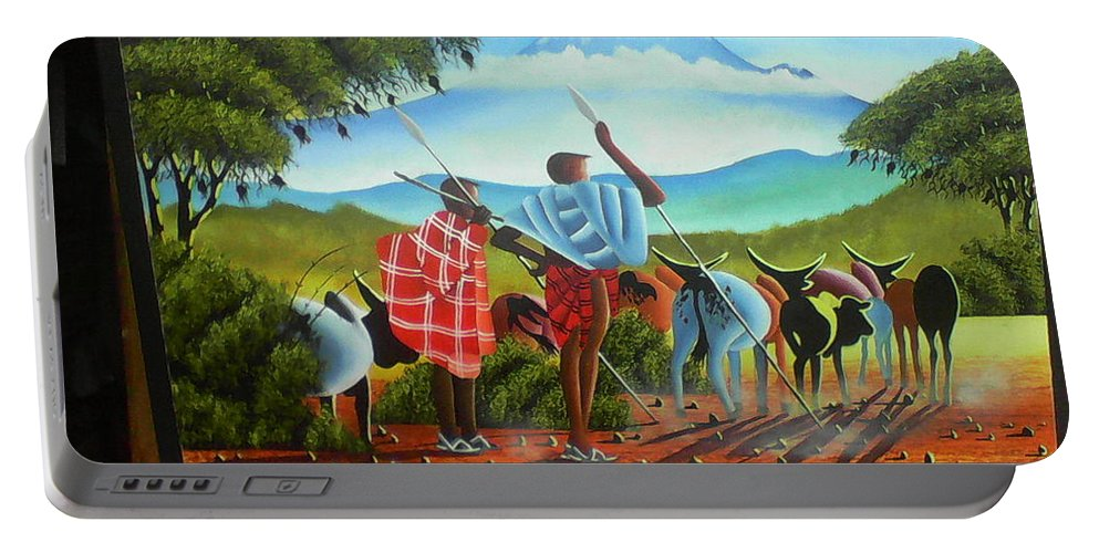 Portable Battery Charger featuring the drawing Sunrise by Amos Murigi