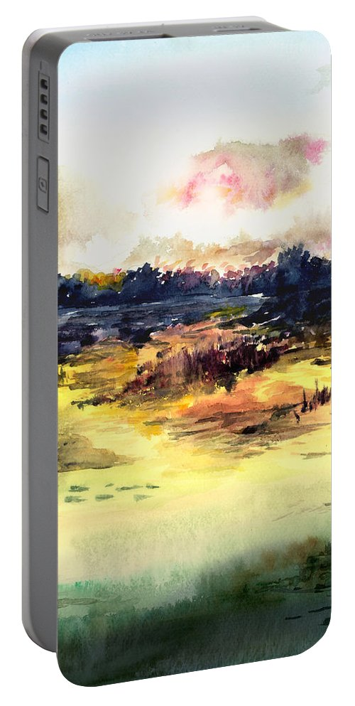 Landscape Water Color Sky Sunrise Water Watercolor Digital Mixed Media Portable Battery Charger featuring the painting Sunrise by Anil Nene