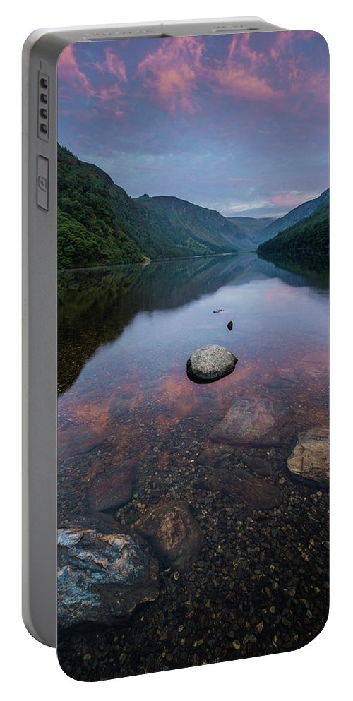 Sunrise Portable Battery Charger featuring the photograph Sunrise At Glendalough Upper Lake #2, County Wicklow, Ireland by Anthony Lawlor