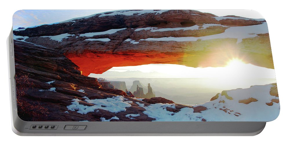 Canyonland National Park Portable Battery Charger featuring the photograph Sunrise At Mesa Arch by Karen Chatham