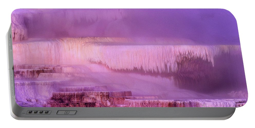 North America Portable Battery Charger featuring the photograph Sunrise At Minerva Springs Yellowstone National Park by Dave Welling