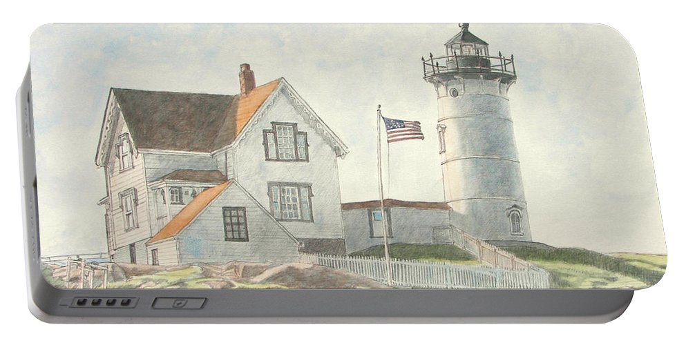 Watercolor Portable Battery Charger featuring the painting Sunrise At Nubble Light by Dominic White
