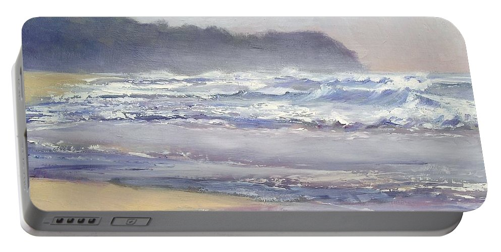 Sunrise Beach Portable Battery Charger featuring the painting Sunrise Beach Sunshine Coast Queensland Australia by Chris Hobel