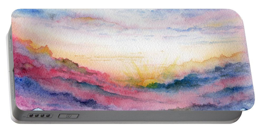 Watercolor Portable Battery Charger featuring the painting Sunrise by Brenda Owen