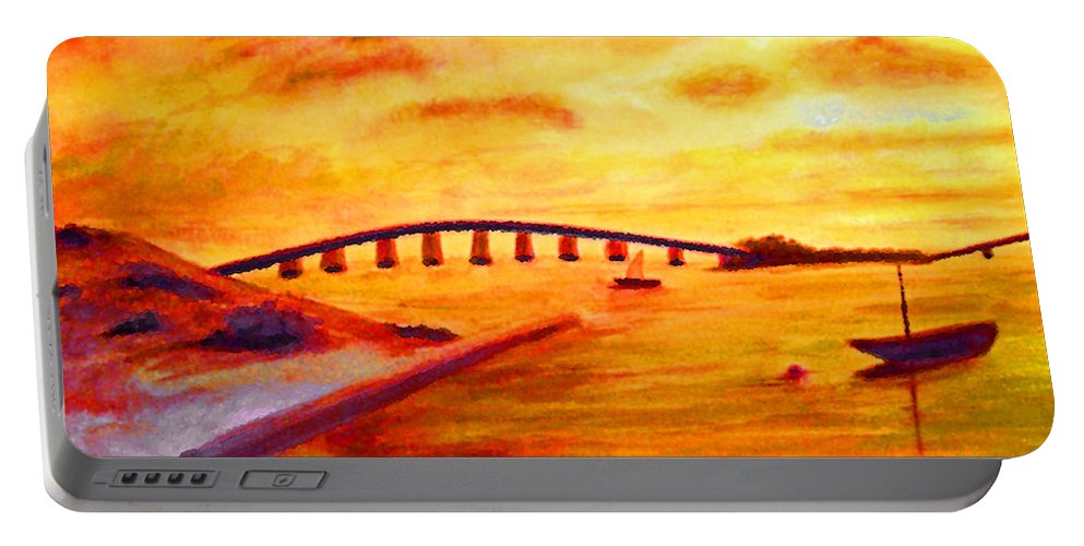 Keys Portable Battery Charger featuring the painting Sunrise Fiesta Key by Ken Figurski